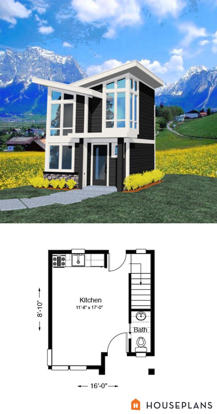 Tiny 2 Story Modern House Plan 502sft 1br 1 5 Ba