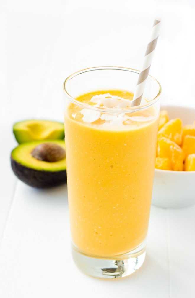 Mango Avocado Smoothie! A creamy, healthy treat with healthy fat that keeps you going when you're craving something sweet.