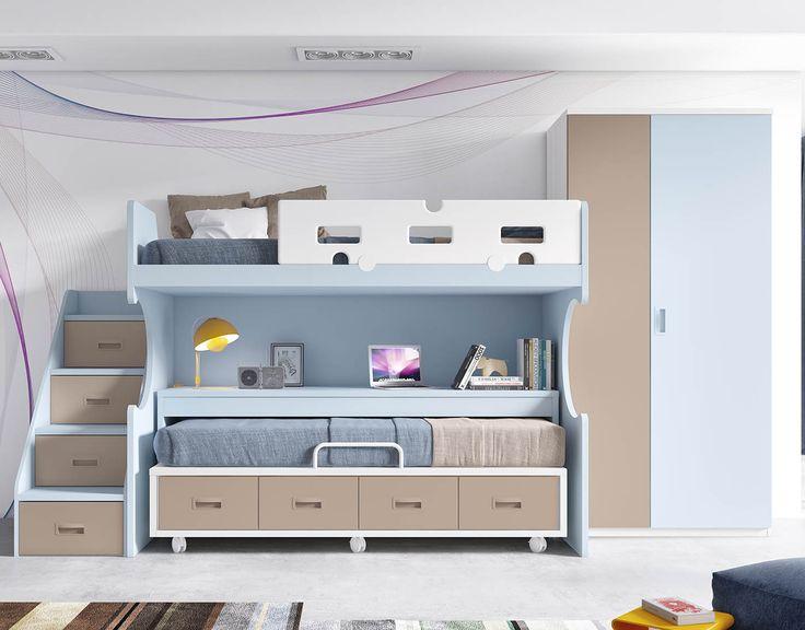 Dormitorio juvenil en colores fresno capuchino blanco y - Dos camas en una ...