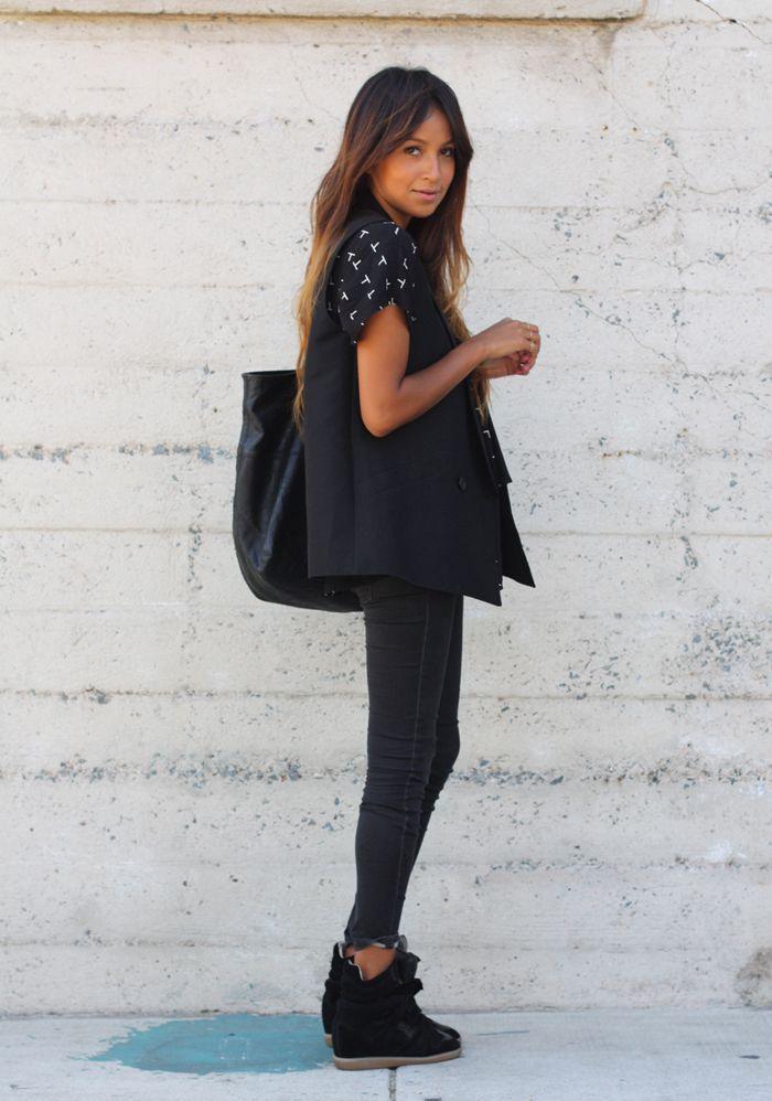 Vest: BCBG | Blouse: F21 | Jeans: Gap | Bag: Joie | Sneakers: Isabel Marant    via sincerely jules