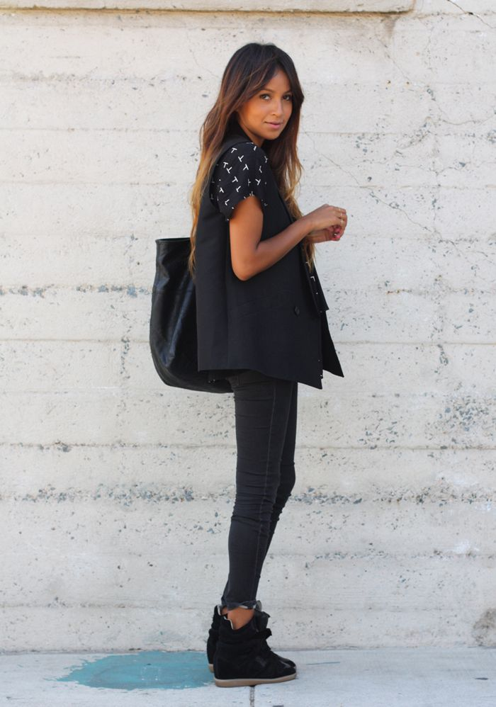 Vest: BCBG  |  Blouse: F21  |  Jeans: Gap  |  Bag: Joie  |  Sneakers: Isabel Marant    via sincerely jules
