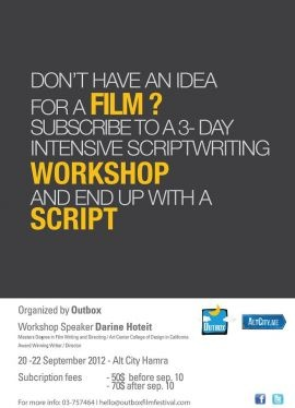 Intensive Script Writing Workshop at Altcity, Workshop or Class, An intensive script writing workshop will be held for 3 days at AltCity in Hamra by Award winning scriptwriter/director Darine Hotait.    Subscribers don't need to have a film idea before starting the...