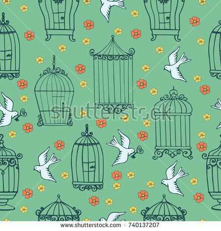 Seamless vintage pattern for design with cages, birds and flowers. Material for Creativity