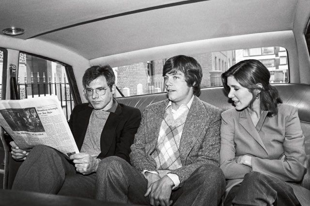 Harrison Ford, Mark Hamel, Carrie Fisher, in a London cab.