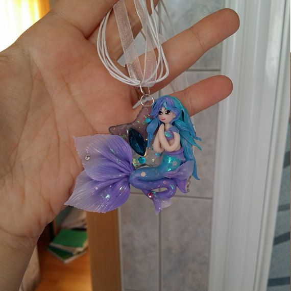 Polymer clay Mermaid charm necklace