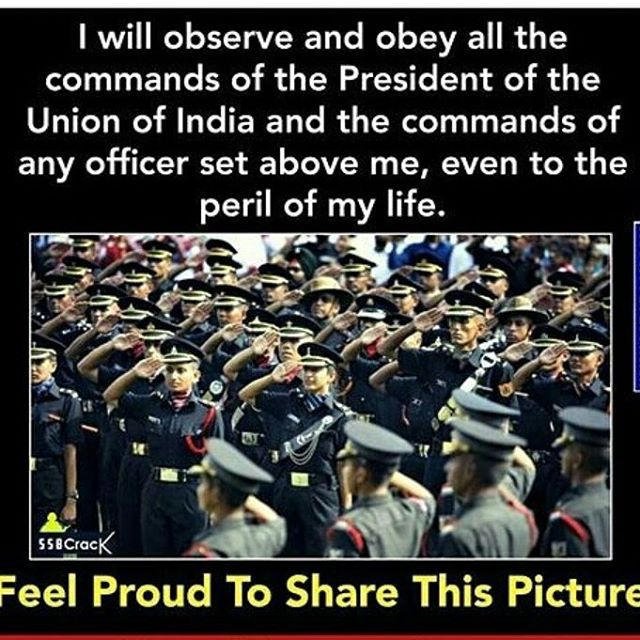 The oath 😃 Proud indian. #joinindianarmy #indianarmy #india #indianairforce #indiannavy #motivation #ssb #officer #love #uniform #bandofbrothers 😃