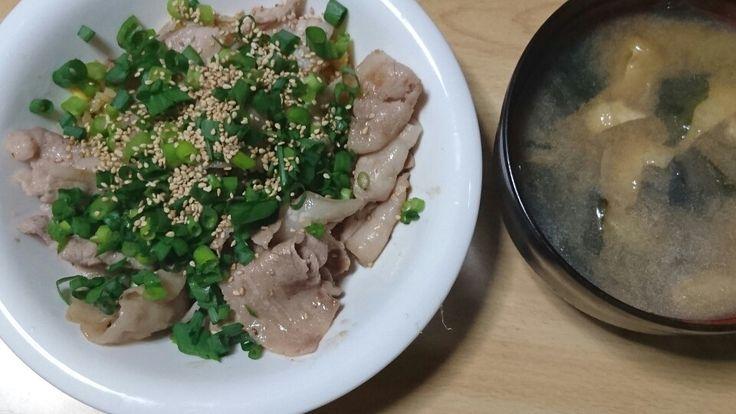 チャーハンに塩ぶた焼き肉をのせてみました。 青ネギと胡麻をまぶして出来上がり。 簡単に作れて旨い。