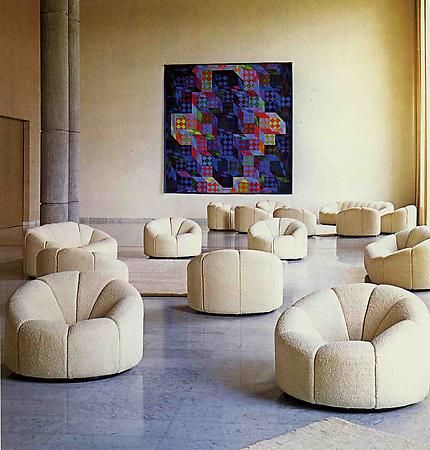 Elysee chairs at a prefacture in Nanterre, France c 1970s. Paulin, Pierre.
