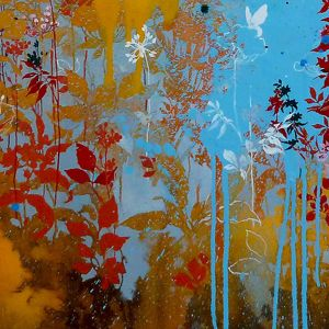 summer blow up oil, graphite and acrylic on canvas 100 x 100 cm 2011 by Henrik Simonsen