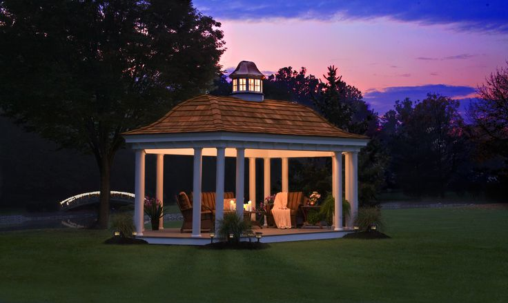 A gorgeous 12' x 20' Belvedere Pavilion during early dawn. See more Belvedere pavilions athomesteadstructures.com/pavilions/belvedere-pavilion