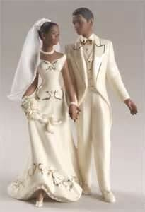 African American Just Married Cake Topper