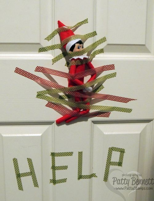 Our Elf on a Shelf got into the Washi Tape at the Bennett home! www.PattyStamps.com