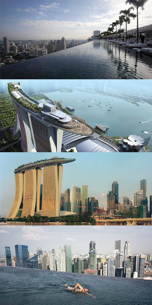 on top of the resorts three hotel towers sits the foot long skypark where you will find the ridiculous 500 foot long infinity pool overlooking the