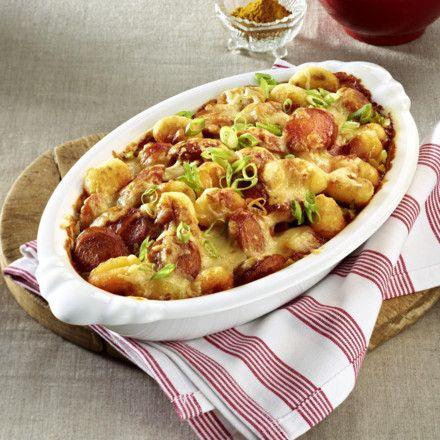 Rasanter Currywurst-Gnocchi-Auflauf Rezept
