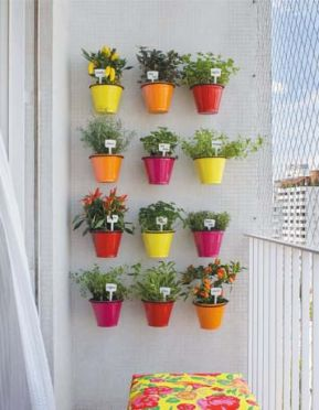 vasos como jardim vertical: Gardens Ideas, Small Balconies, Color, Gardens Wall, Plants, Flower Pots, Herbs Gardens, Small Spaces, Wall Gardens