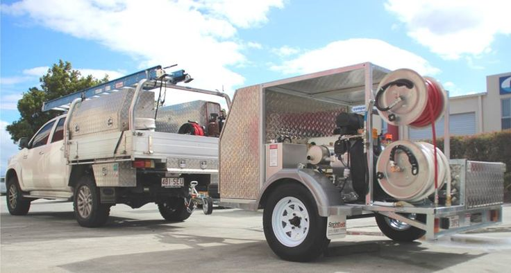 """We specialise in custom built drain cleaning and pressure cleaning machines. Here is a Sprintjett 34HP Water Jetter (4000psi @ 33 l/min flow) which was just built for a plumber, this jetter has a custom made roof, custom made tray with tie down points to hold his extra gear, stainless steel hose reels, 60m of 3/8"""" jetting hose plus much more. A big thank you goes out to Grant and his team for their business. All the best guys! #Sprintjett #SPRINTJETT"""