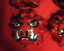 Arkansas Razorbacks ornaments using hand painted crown of thorn gourds