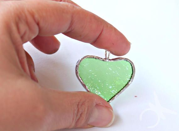 Green heart glass pendant in stained glass and sterling silver