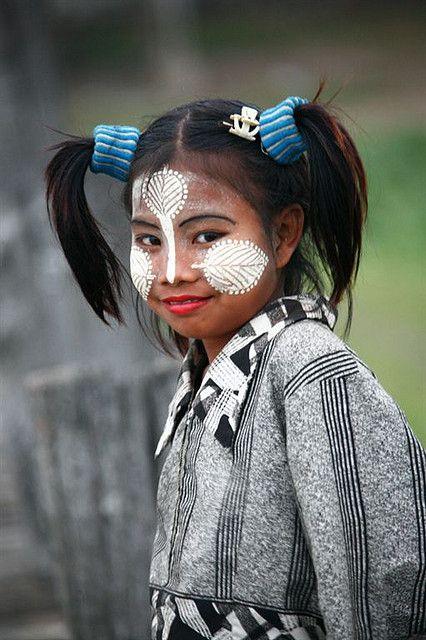 Myanmar | Young girl with Thakana make up. Mandalay | © Eric Lafforgue