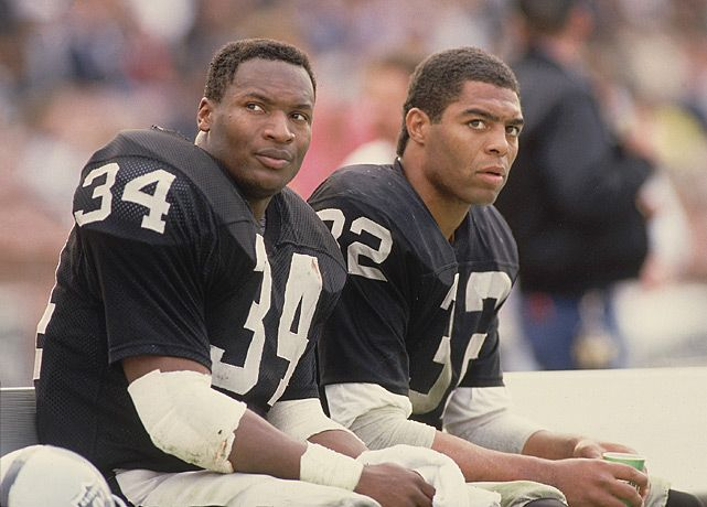 Bo Jackson and Marcus Allen, Los Angeles Raiders. Two great talents, but the beginning of the end for the Raiders due to the rift it caused.