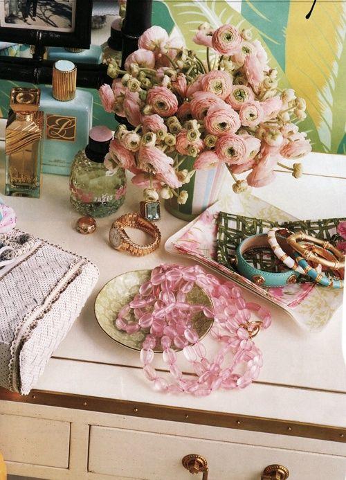 Suzie: Domino Magazine - Katie Lee - Chic vanity vignette with pink roses, jewelry and ...