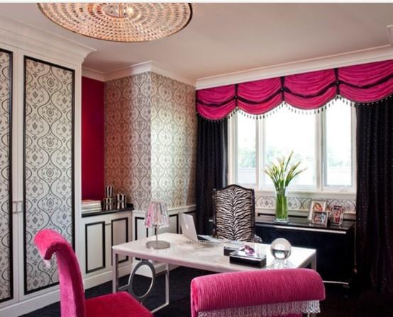 Hot Pink Black Office