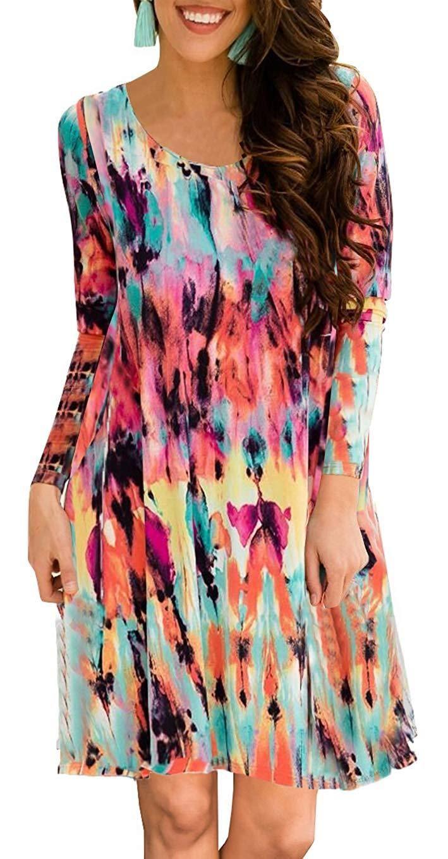83903ee274c ETCYY Women s Long Sleeve Floral Printed Casual Swing T-Shirt Dress Pockets