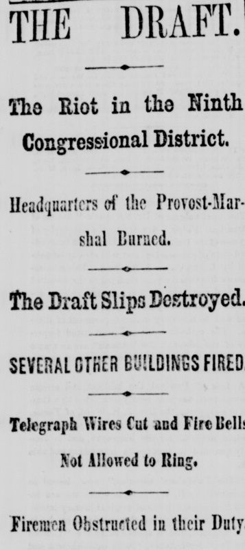 New York Tribune, July 14, 1863. The Draft Riots had started.