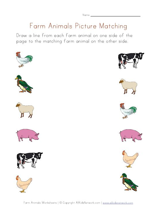 farm animals for preschoolers | Farm Animals Worksheet - Picture Matching