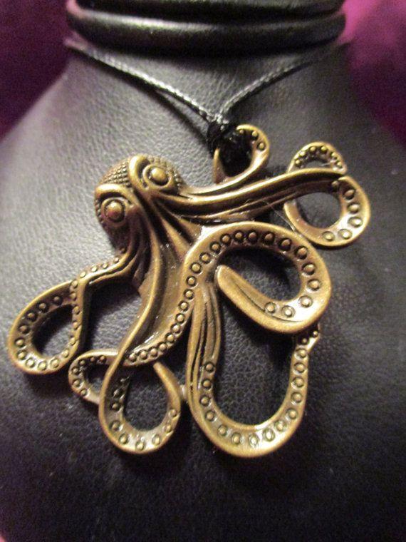 Octopus Pendant on Adjustable Cord by ChocolateMountain on Etsy