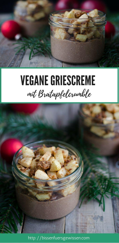 Veganes Rezept für Schokogriescreme mit Bratapfel-Lebkuchen-Crumble – ein tolle…