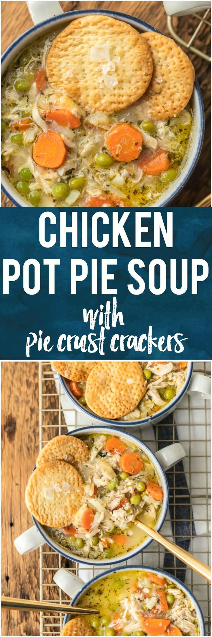 This CHICKEN POT PIE SOUP with PIE CRUST CRACKERS is hearty, delicious, creative, and easy; a favorite family recipe transformed into an unexpected soup! It's one of our favorite comfort food soups for Winter. #soup #chicken #piecrust #winter #comfortfood via @beckygallhardin