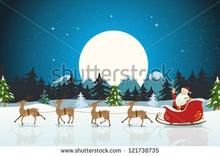 Merry Christmas Card/ Illustration of a funny cartoon santa claus character driving the christmas sleigh with his reindeer running on the winter snow