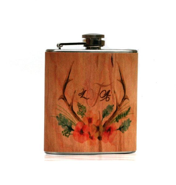 Bridesmaids gift Unique personalized wood flask  by Wickensnuffers