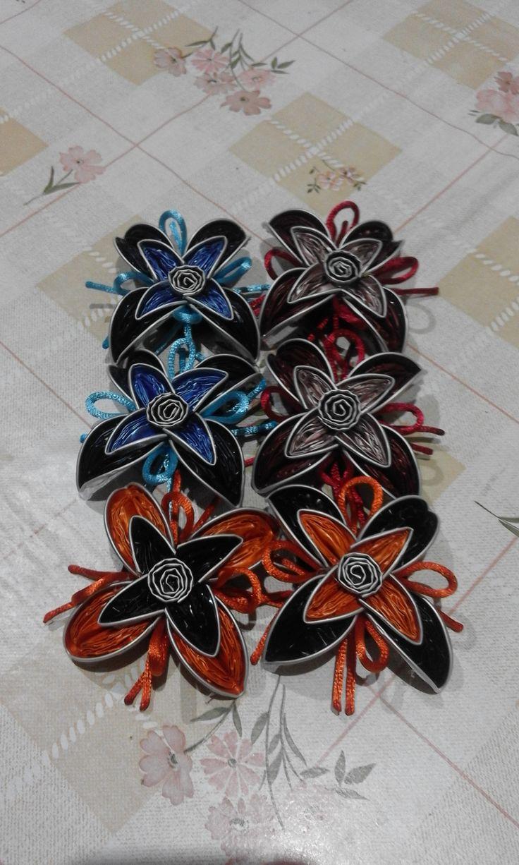 Flores dobles realizadas con cápsulas nespresso