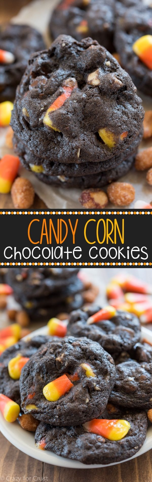 Chocolate Candy Corn Cookies - these soft and easy chocolate cookies are filled…