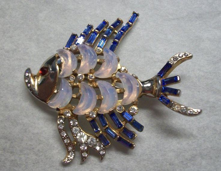 Trifari Clair de Lune Fish Pin Brooch Rhinestone Moonstone A Philippe 1949 | eBay: Claire, Lune Fish, Costumes Jewellri, Philippe 1949, Jewelry Brooches, Brooches Rhinestones, Ocean Jewels, Fish Pin, Pin Brooches