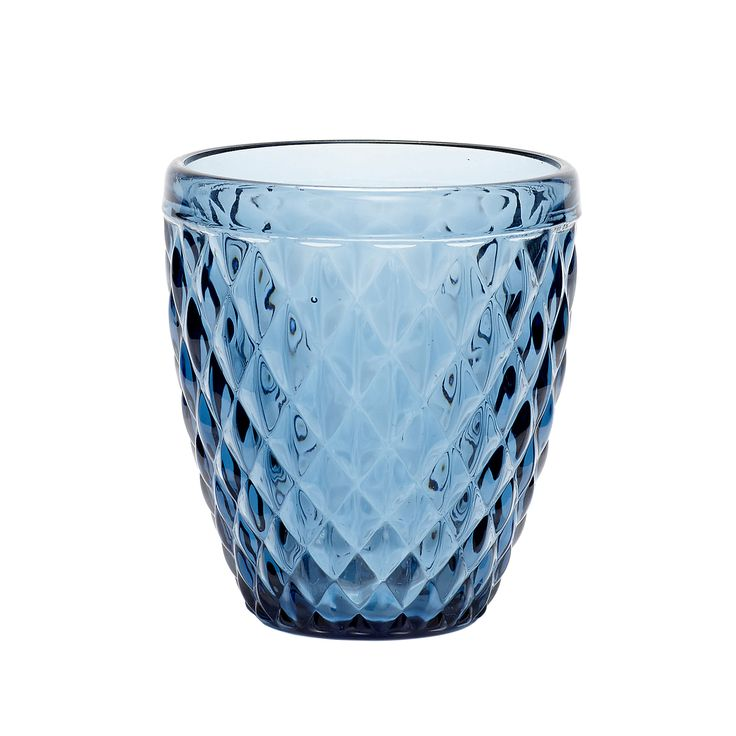 Blue tealight glass with pattern. Product number: 480110 - Designed by Hübsch