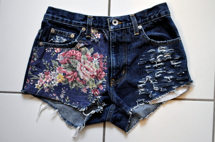 Floral Upcycled High Waisted Destroyed Shorts. $40.00, via Etsy.