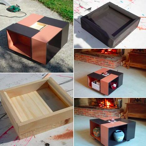 11 best mini caisse table basse images on pinterest wine crates couch table and recycling. Black Bedroom Furniture Sets. Home Design Ideas