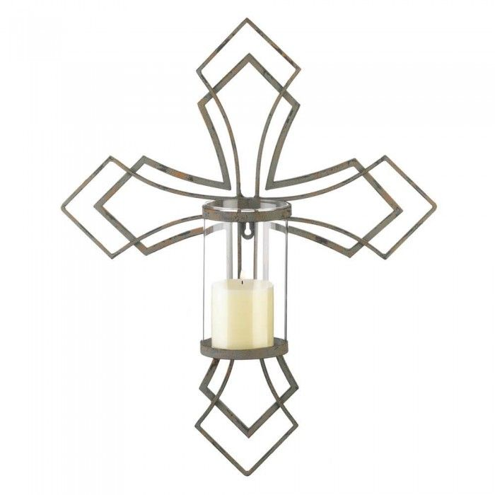 Contemporary Cross Candle Wall Sconce Upc 849179040734 Wall Candles Cross Candles Candle Wall Decor
