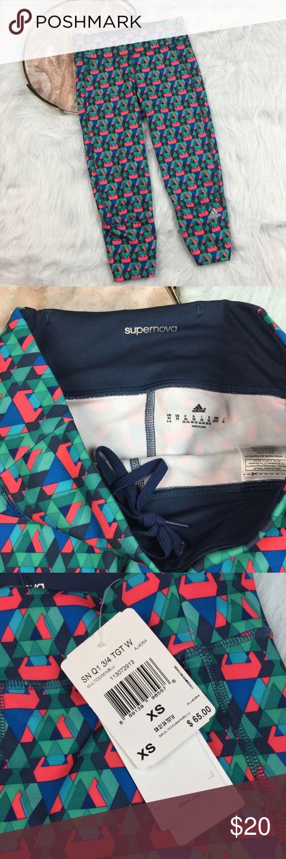 "Fun print adidas supernova running capri leggings Adidas supernova running capris in a fun geometric print. Women's size XS, gently used with no flaws.   waist laying flat- 13"" rise-10""  inseam-  21"" Adidas Pants Leggings"