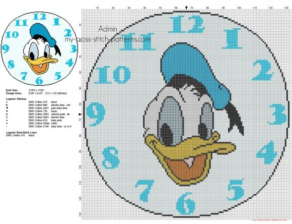 Cross stitch pattern clock with Disney Donald Duck face