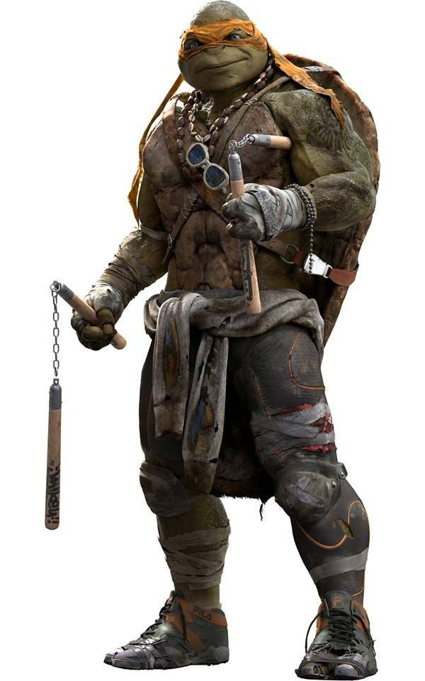 Michelangelo's new look from the new 2014 Teenage Mutant Ninja Turtles movie. Errr I don't think a sweatshirt would fit over his shell.