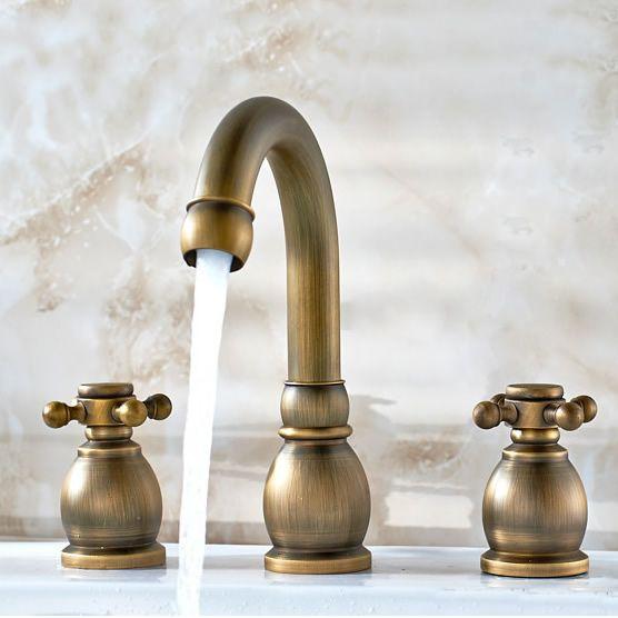 Antique Brass Widespread Bathroom Sink Tap T1808K http://www.tapforyou.co.uk/bathroom-sink-taps/antique-basin-taps/antique-brass-widespread-bathroom-sink-tap-t1808k