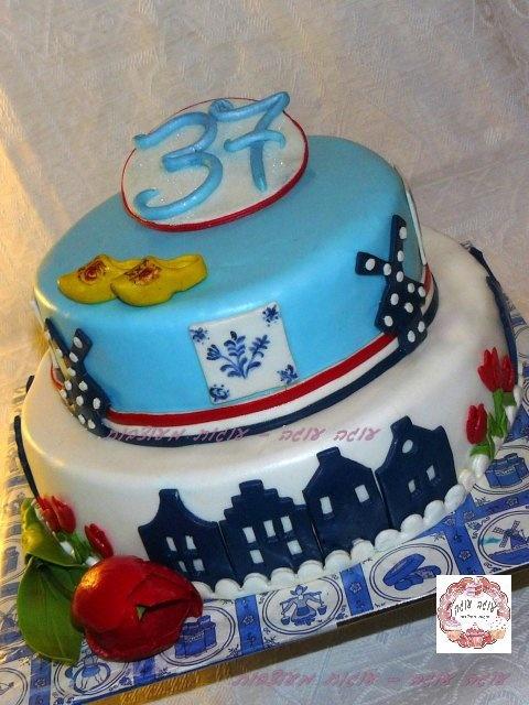 Two-tier Dutch theme birthday cake