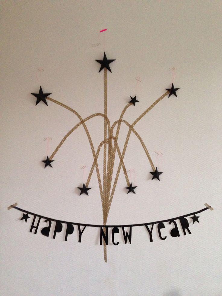 Happy new year!  Letterbanner van little lovely company gekocht bij kekootje.nl sterren zelf gevouwen...