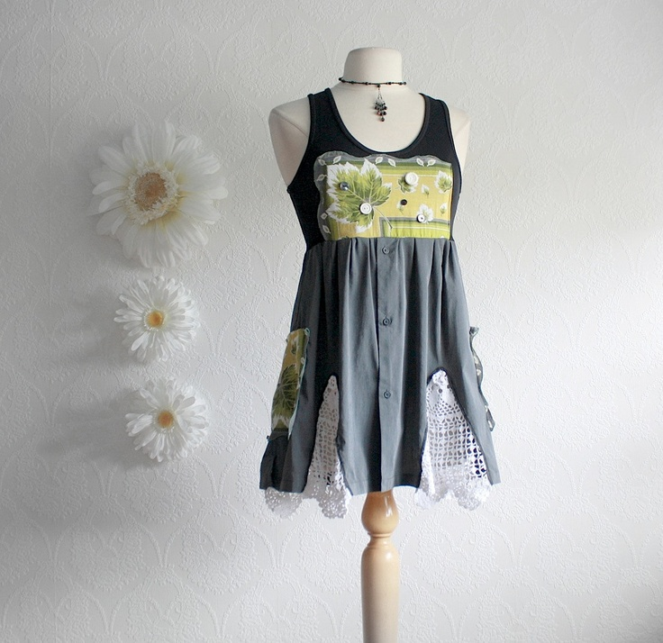 Black Upcycled Shirt Women's Gray Top Green Bohemian Long Tunic Tank Recycled Vintage Eco Fashion Ladies Clothes Medium 'ALEXA'. $57.00, via Etsy.
