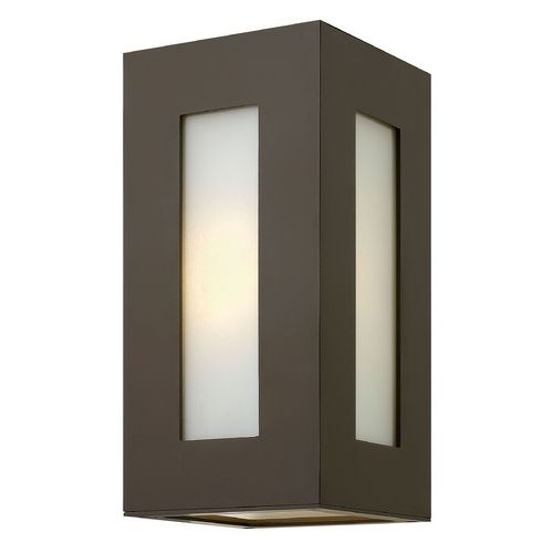 Modern Outdoor Wall Light with White Glass in Bronze Finish | 2190BZ | Destination Lighting