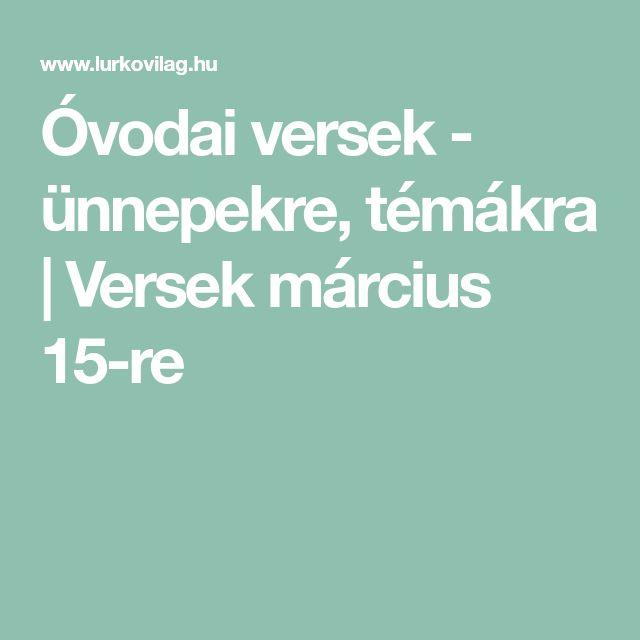 Óvodai versek - ünnepekre, témákra | Versek március 15-re